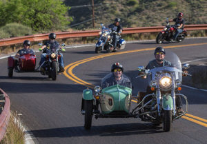 motorcycle and sidecar on open road