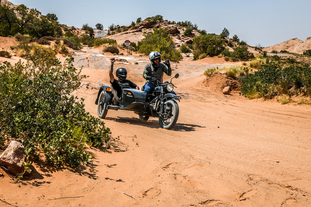off road ural motorcycle sidecar rides in moab utah in sand
